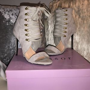 Grey Bootie Lace up Heels